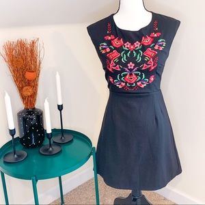 NWT Tea & Cup Black Floral Embroidered Dress
